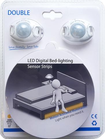 Bedlight 2 stk. 120 cm LED bånd og 2 stk. bevægelsessensor