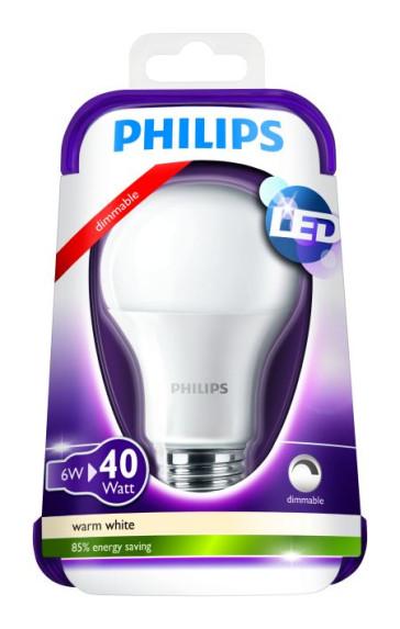 6 watt dæmpbar LED der erstatter en 40 watt glødepære.